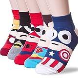 Beautbride Women's Cartoon Ankle Socks 3D Printed, Captain America, 5 Pairs offers