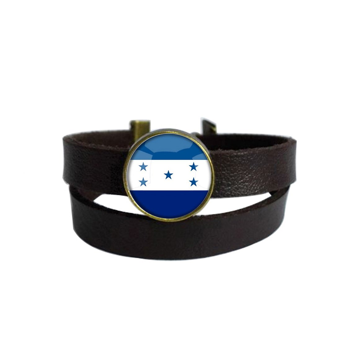 LooPoP Vintage Punk Dark Brown Leather Bracelet The Republic Of Honduras National Flag Belt Wrap Cuff Bangle Adjustable