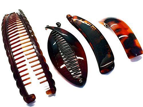 La Peach Fashions Great Value Pack Of Large Banana Comb Fish Comb Plain Banana Clip And A Plain Barrette Lovely Set Of Four Ladies Hair Styling Hair Clips Slides And Barrette (T