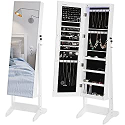 SONGMICS 18 LEDs Jewelry Cabinet with Frame-Less Mirror Lockable Standing Armoire Organizer White UJJC86W