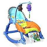 Baby throne Rocking Chair, newborn Baby Cradle, Portable baby recliner baby rocker(blue)