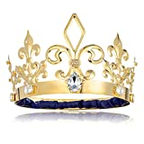 DcZeRong Adult Men Birthday King Crown Gold Homecoming Costume Prom King Crowns Metal Tall Crown