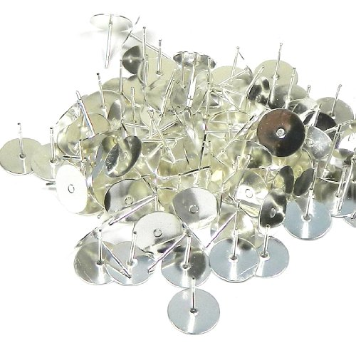 100 Silver-plated Brass 10mm Flat Pad Surgical Steel Post Earring Finding Package of 50 (Silver Plated Solid Brass)