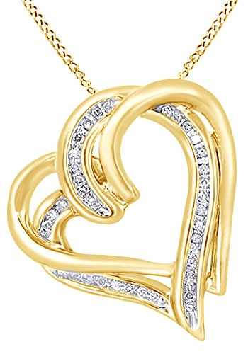Round Cut White Natural Diamond Interlocking Heart Pendant Necklace In 14K Yellow Gold Over Sterling Silver (0.1 Ct)