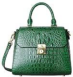 PIFUREN Crocodile Bags Designer Leather Satchel Handbags Top Handle Shoulder Purse (green)