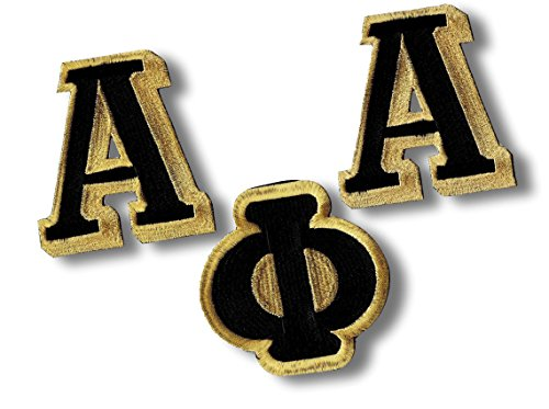 [Single Count] Custom and Unique (4'' Inch) Rectangular Simple Basic Alpha Phi Alpha Swag Letter Series Design Iron On Embroidered Applique Patch {Black, White, & Yellow Colors} by mySimple Products
