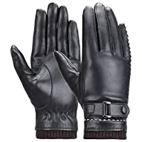 Winter Women's Touchscreen Texting Driving Warm Pu Leather Gloves, Fleece Lining Warm Gloves for Women
