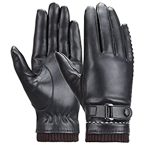 Winter Women's Touchscreen Texting Driving Warm Pu Leather Gloves, Fleece Lining Warm Gloves for Women, Black, Medium