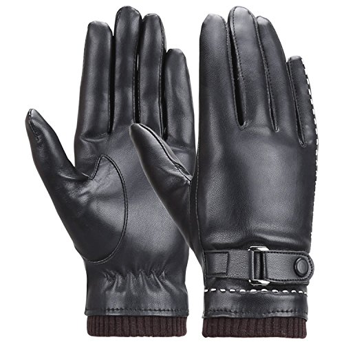 - Winter Women's Touchscreen Texting Driving Warm Pu Leather Gloves, Fleece Lining Warm Gloves for Women, Black, Medium