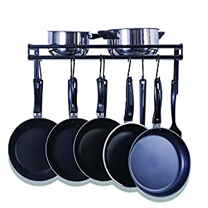 UNENCK Black Kitchen Wall Pan Pot Rack Iron Pan Hanger, 10 Hooks Available