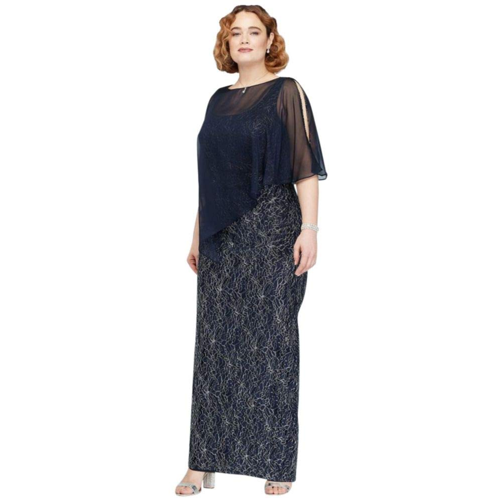 Metallic Lace Plus Size Mother of Bride/Groom Gown with Beaded Capelet  Style 7412142, Navy, 20W
