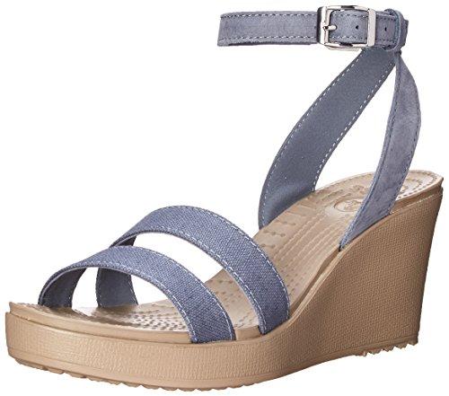 crocs Women's Leigh Wedge Sandal, Storm/Mushroom, 10 B(M) - Croc Buckle