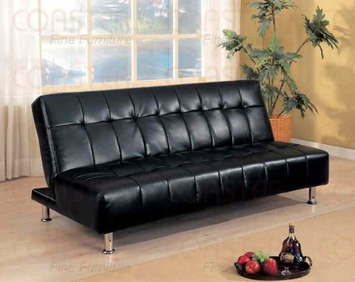 Coaster Contemporary Futon Sofa Bed with Metal Legs, Black Vinyl - Black Vinyl Futon Sofa
