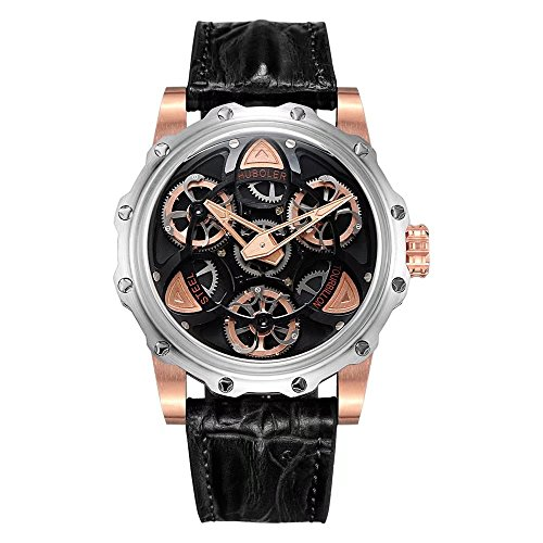 (HUBOLER Luxury Men's Chrono S Wrist Watch - Genuine Crocodile Skin – 46mm Chronograph Watch - Precise and quality Swiss-Quartz movement (black 1))