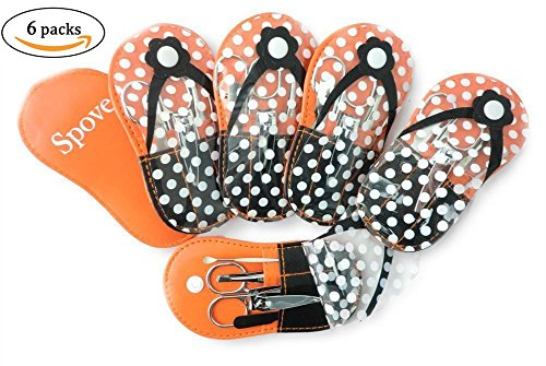 Spove Shoe Polka Dot Flip Flop Design Manicure Kit Shape Personal Care Manicure Set pack of 6 Orange