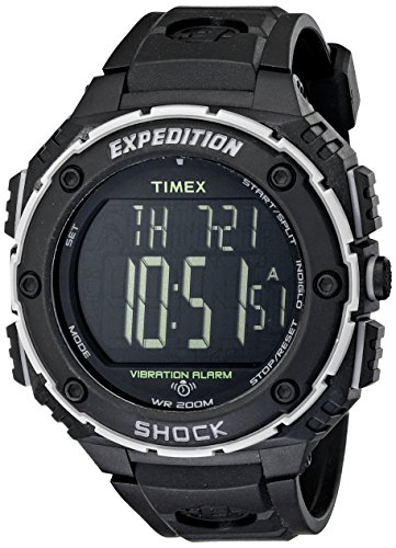 Timex Men's T49950 Expedition Shock XL Vibrating Alarm Black Resin Strap Watch (Resin Black Strap)