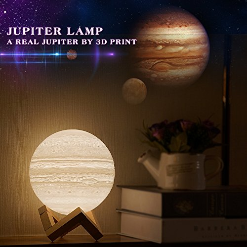 Mydethun Moon Lamp Moon Light Night Light for Kids Gift for Women USB Charging and Touch Control Brightness 3D Printed Warm and Cool White Lunar Lamp (Jupiter lamp 4.7 inches)