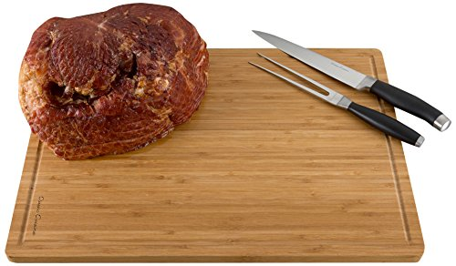 Extra Large Bamboo Cutting Board- Thick, Eco Friendly and Antibacterial Chopping and Serving Board with Juice Groove 20 x 14 x .75 by Classic Cuisine
