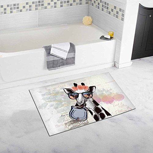 InterestPrint Funny Fashion Giraffe in Hipster Glasses Holding Female Bag Home Decor Non Slip Soft Bath Rug Mats Shower Rug for Bathroom Tub Bedroom Large Size 20 x 32 Inches