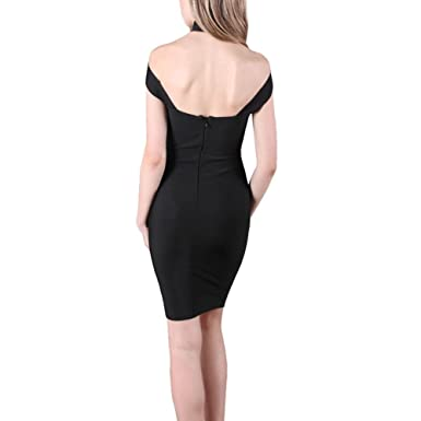 Luxsea Womens Fashion Halter Backless High Neck Hollow Out Back Zipper Bodycon Dress at Amazon Womens Clothing store: