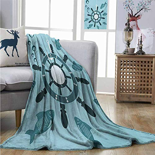 (Cozy Blanket Ships Wheel The Helm of The Ship on a Hookwater Bubbles Fish Underwater Life Shipwreck Charisma Blanket W70 xL93 Turquoise Teal)