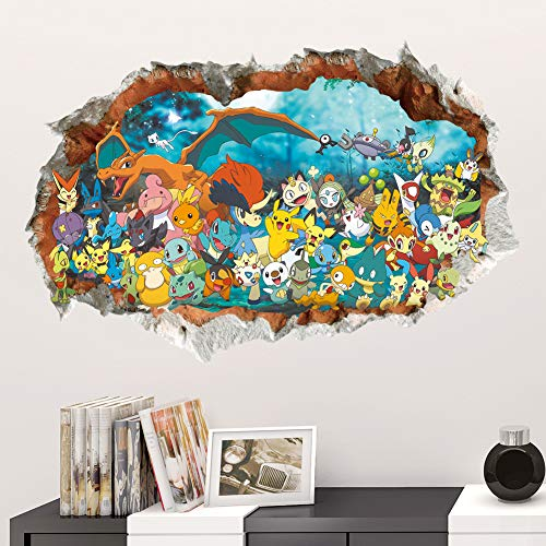 3D Cartoon Pocket Monster Pikachu Through Wall Stickers for Kids Rooms Wall Art Decals Decor Game Posters -
