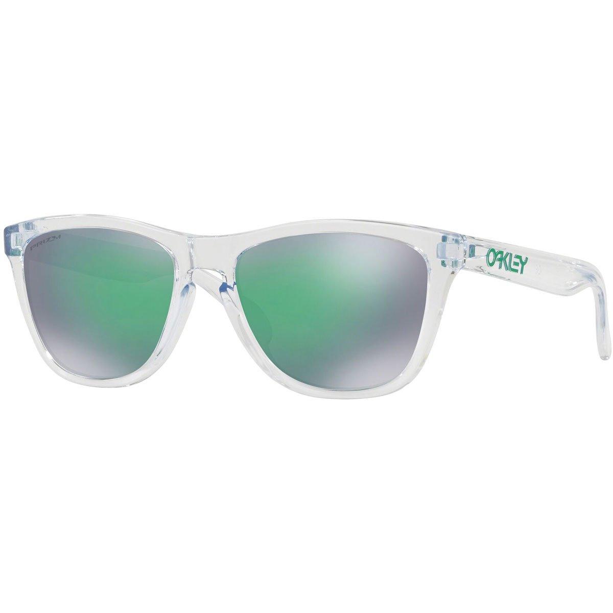 Oakley Men's OO9013 Frogskins Square Sunglasses, Crystal Clear/Prizm Jade, 55 mm by Oakley