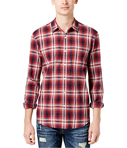 American Rag Mens Plaid Button Up Shirt, Red, Small from American Rag