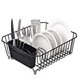 IKEBANA Commercial Small Wire Dish Drainer Drying Rack, Kitchen Dish Drainer Rack With Removable Cutlery Holder Black