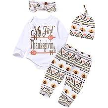 IWOKA 4Pcs Baby Outfit Newborn Boy Girl Set Bodysuit Pants With Hat and Headband