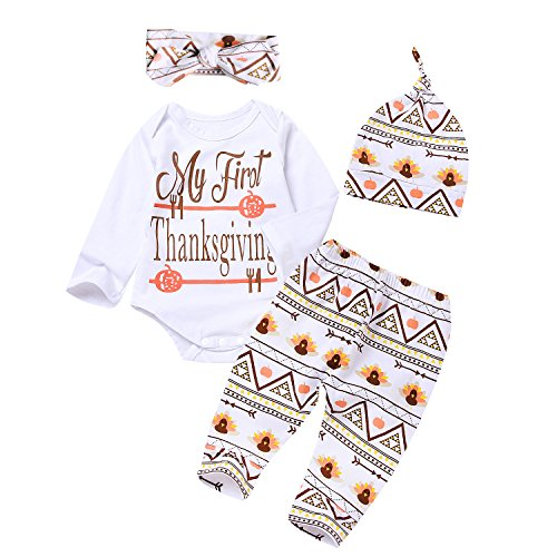 4Pcs Baby Thanksgiving Outfit Newborn Boy Girl Set Bodysuit Pants with Hat and Headband (0-3M, White)]()