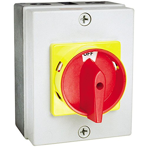 c3controls EDS2-330-ABS-GRY Enclosed Non-Fused Disconnect Switch, 3-Pole, 32 Ampere, ABS Plastic (IP65) Enclosure, Red/Yellow Round Operating Handle