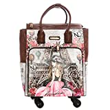 Nicole Lee Women's Graphic Pink Rolling Tote Bag with 4 Spinner Wheels and Electronic Compartment Travel, Vivian Dreams Paris One Size