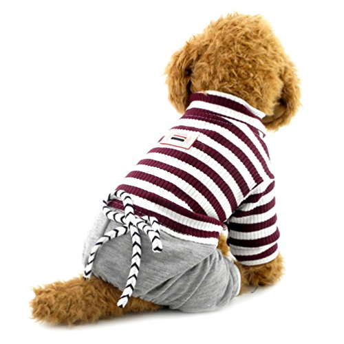 SMALLLEE_LUCKY_STORE Doggie Denim Pants Fashion Suitcase for Boy Pet Jumpsuit with White Stripe, Medium, Brown