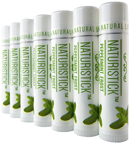 7 Pack Peppermint All-Natural Beeswax Lip Balm Gift Set by Naturistick, Best Healing Chapstick for Dry, Chapped Lips, with Aloe Vera, Vitamin E, Coconut Oil for Men, Women and Kids, Made in USA -