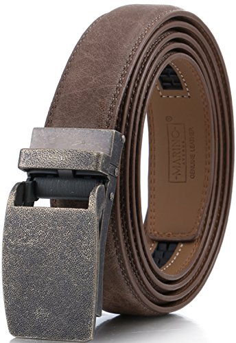 (Marino Avenue Men's Genuine Leather Ratchet Dress Belt with Linxx Buckle, Enclosed in an Elegant Gift Box - Walnut - Style 167 - Adjustable from 28