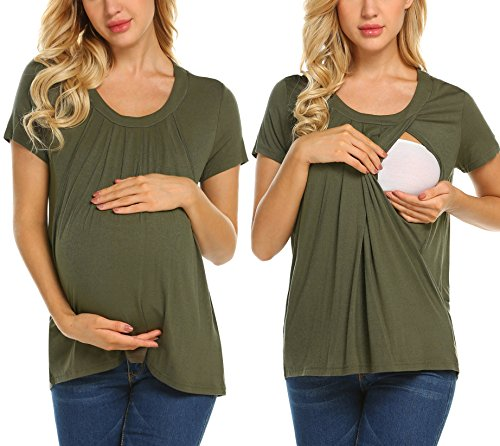 MAXMODA Women's Comfy Maternity Nursing Tee Shirt Short Sleeve Flattering Sides Double Layer Breastfeeding Tops S-XXL (L, A_Army Green)