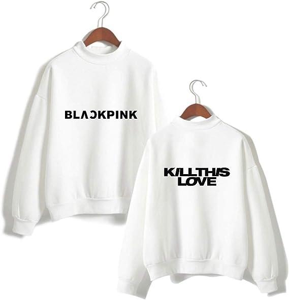 ZIGJOY Kpop Blackpink Signature Pull Unisexe /à Capuche Sweat Pull Rose Jennie Jisoo Lisa pour Les Fans