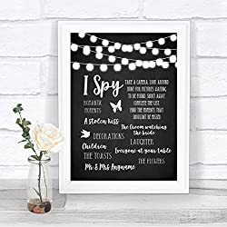 Chalk Style Black & White Lights I Spy Disposable Camera Wedding Sign