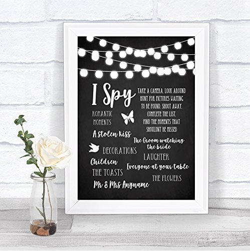 (Chalk Style Black & White Lights I Spy Disposable Camera Wedding Sign)
