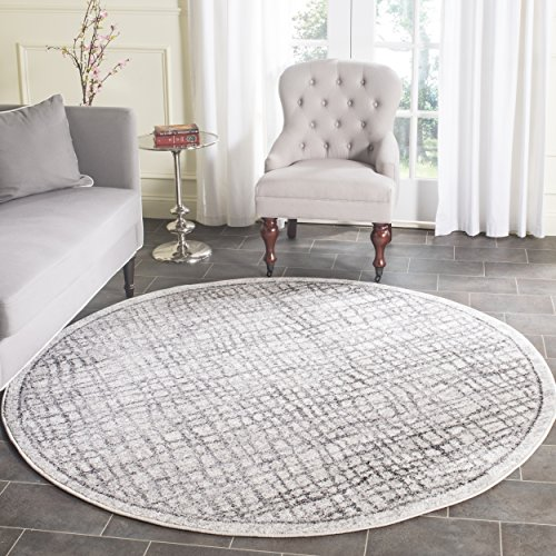 Safavieh Adirondack Collection ADR103B Silver And Ivory Modern Distressed  Round Area Rug (8u0027 Diameter)