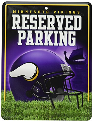 Minnesota Vikings Sign Parking (Rico NFL Minnesota Vikings 8-Inch by 11-Inch Metal Parking Sign Décor)