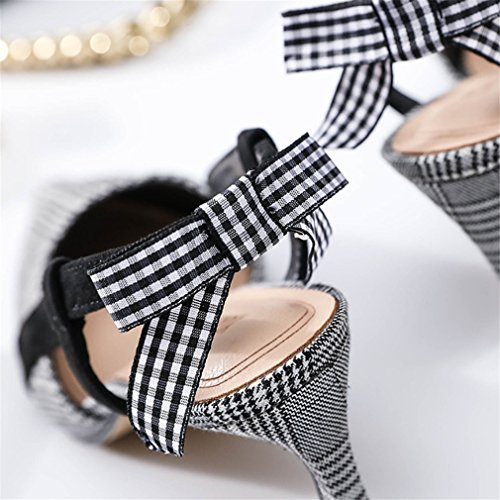 LUCKY CLOVER-A High Heels Sandals Shoes Party Wedding Office Ladies Princess Queen Court Shoes Pumps Black And White Plaid Satin Shoes zTjjETzy