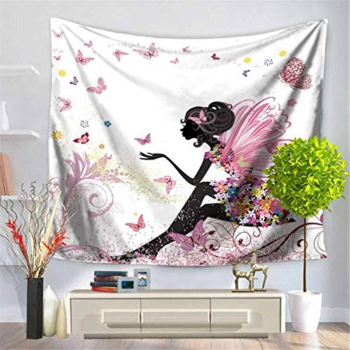 Fairy Tapestry (Angel Wings Tapestry Wall Hanging Fairy Tapestry Butterfly Tapestry Dancing Girl Elf Princess Tapestry Flower Tapestry for Wedding Bedroom Home Decor Wall Tapestry)
