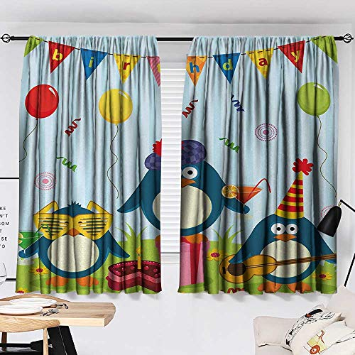 Kids Birthday Curtain Kitchen Window Cartoon Style Penguin Party with Flags Cakes and Surprise Box Window Darkening Curtains Light Blue and Fern Green W55 x L39 by Jinguizi (Image #1)