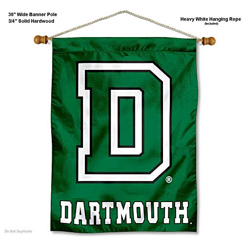 College Flags and Banners Co. Dartmouth Big Green Banner with Hanging Pole