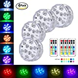 Submersible LED Lights Wireless Remote Controlled Color Changing Underwater Light for Vase, Pond, Fish Tank, Garden, Wedding, Halloween, Party Lights ( 4 pack )