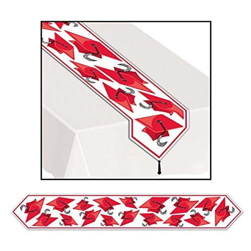 12'6' Runner (Club Pack of 12 Red Celebration Grad Cap Table Runner 6')