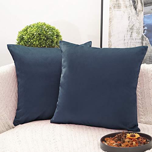 Phantoscope Pack of 2 Decorative Soft Velvet Series Deep Blue Throw Pillow Case Cushion Cover 22