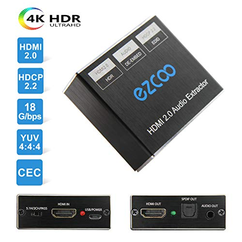 EZCOO 4K HDMI 2 0 HDBaseT Extender 230ft 1080P/ 130ft 4K Cat 5e/6,ARC SPDIF  Audio Breakout, Uncompressed 4K 60Hz 4:4:4 18G HDR 10 HDCP 2 2, 4K/1080P